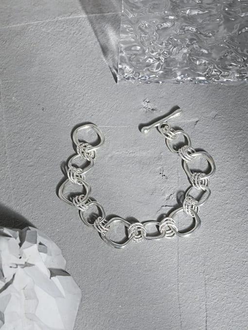 DAKA 925 Sterling Silver Geometric Vintage Link Bracelet 1
