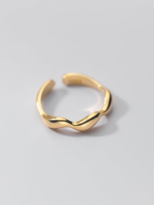 gold 925 Sterling Silver Irregular Minimalist Band Ring