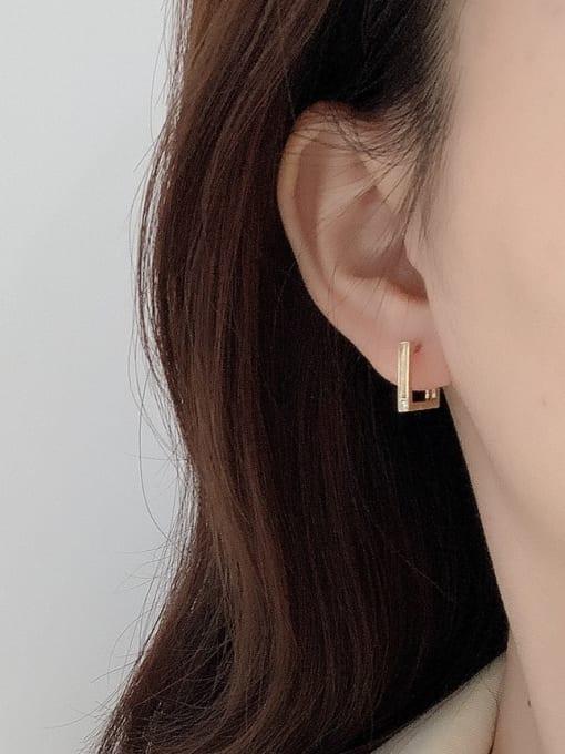 Boomer Cat 925 Sterling Silver Geometric Minimalist Huggie Earring 1