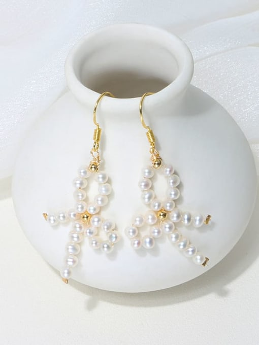 RAIN Brass Freshwater Pearl Bowknot Vintage Drop Earring 2