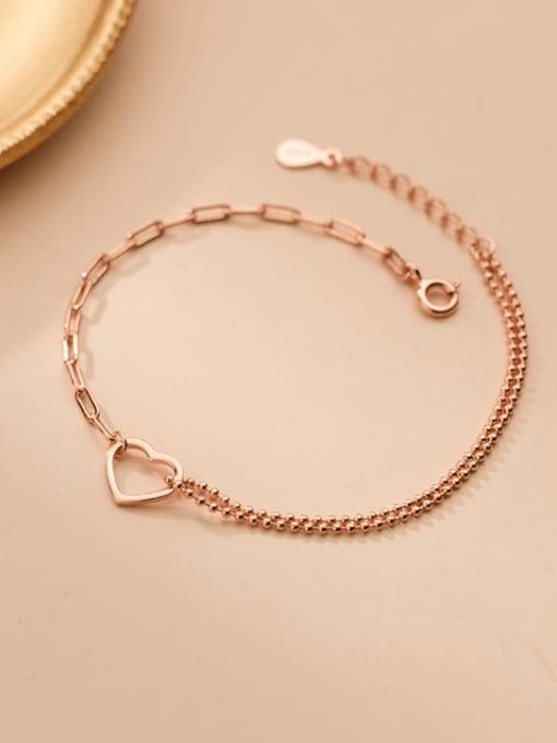 Rosh 925 Sterling Silver Heart Minimalist Strand Bracelet 1