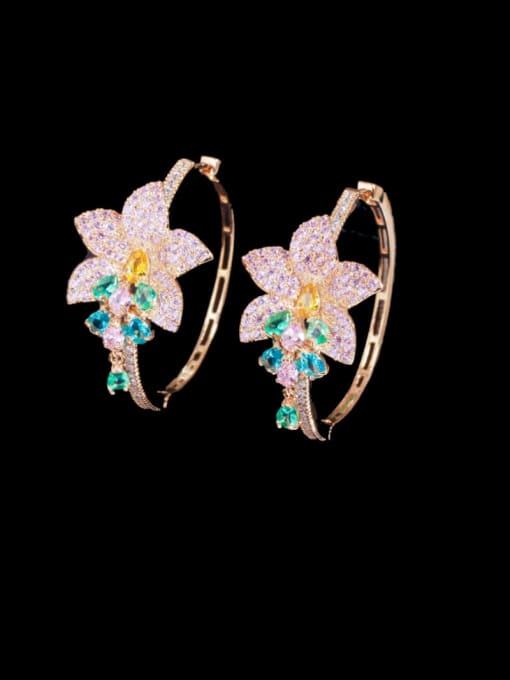 L.WIN Brass Cubic Zirconia Flower Luxury Cluster Earring 3