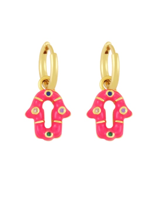 Rose red Brass Enamel Geometric Vintage Huggie Earring