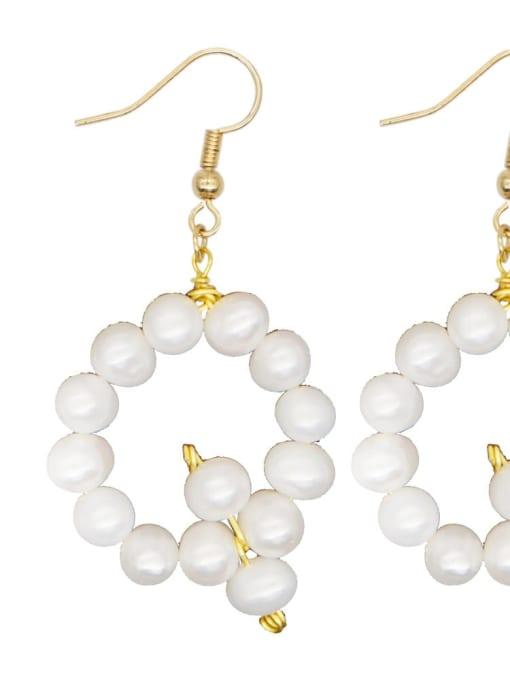 ZZ E200079Q Stainless steel Freshwater Pearl Letter Ethnic Drop Earring