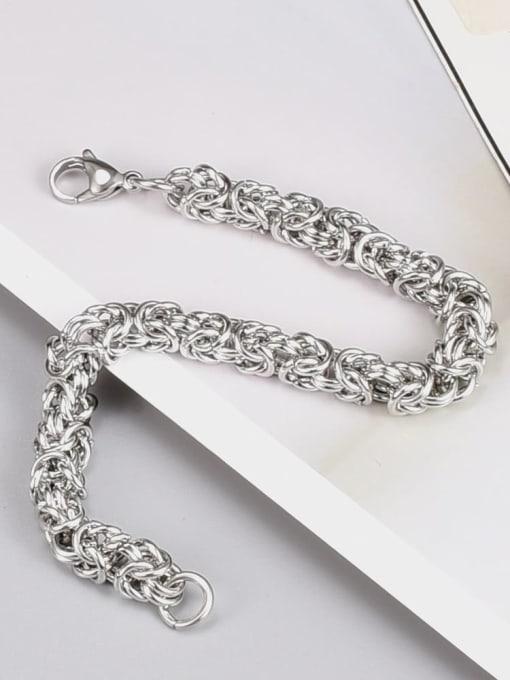 A TEEM Titanium Steel Irregular Hip Hop Link Bracelet 3