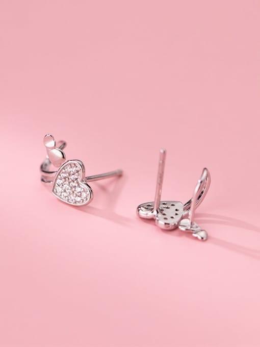 Rosh 925 Sterling Silver Cubic Zirconia Heart Minimalist Huggie Earring 1