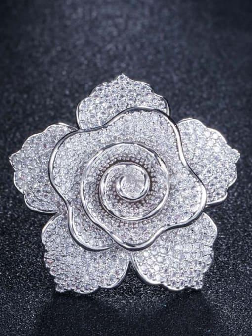 Platinum US  7 Brass Cubic Zirconia Flower Luxury Statement Ring