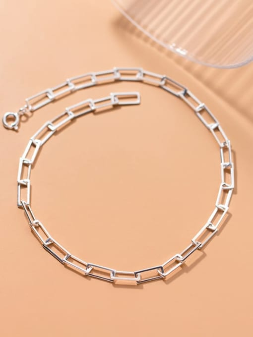 Rosh 925 Sterling Silver  Hollow Geometric Minimalist Anklet 1