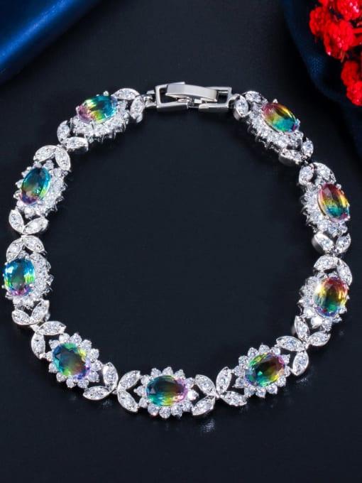 BC02 Brass Cubic Zirconia Oval Luxury Bracelet
