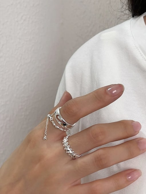 Boomer Cat 925 Sterling Silver Geometric Vintage Stackable Ring 3