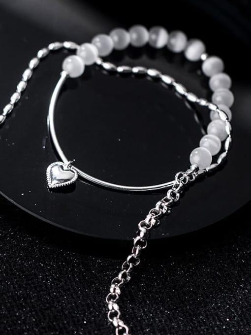 Rosh 925 Sterling Silver Bead Geometric Minimalist Strand Bracelet 2