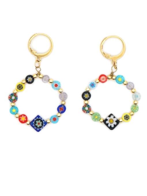 Roxi Stainless steel Glass  bead  Flower Ethnic Drop Earring
