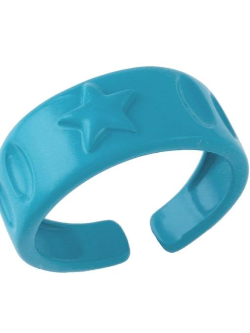 Dark blue Brass Enamel Star Hip Hop Band Ring
