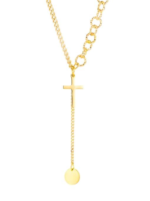 1863 Gold Plated Steel Necklace Titanium Steel Tassel Minimalist Lariat Necklace