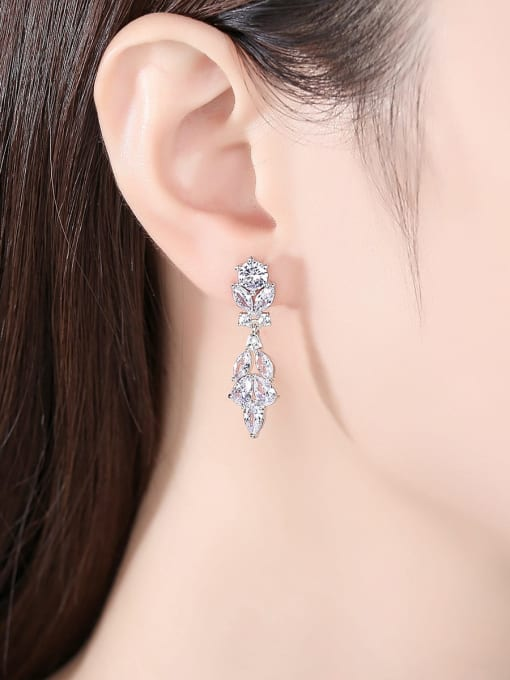 BLING SU Brass Cubic Zirconia Leaf Minimalist Drop Earring 1