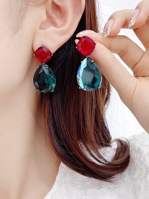 Luxu Brass Cubic Zirconia Water Drop Trend Drop Earring 2