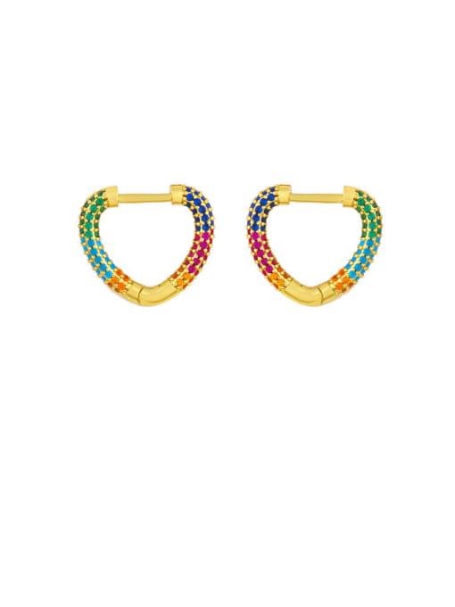 love Brass Cubic Zirconia Heart Vintage Huggie Earring