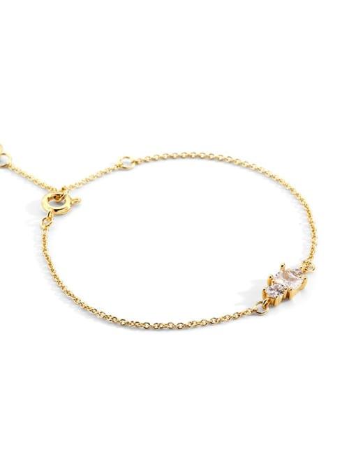 golden Brass Cubic Zirconia Geometric Vintage Link Bracelet