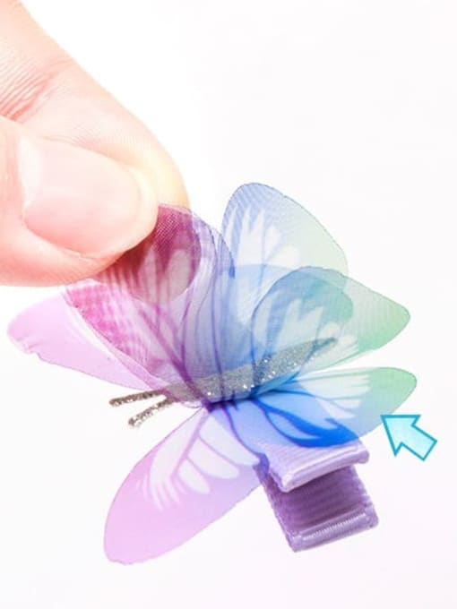 YOKI KIDS Alloy Fabric Cute Butterfly  Multi Color Hair Barrette 3