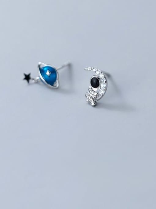 Rosh 925 Sterling Silver Cubic Zirconia Enamel Star Minimalist Stud Earring 2