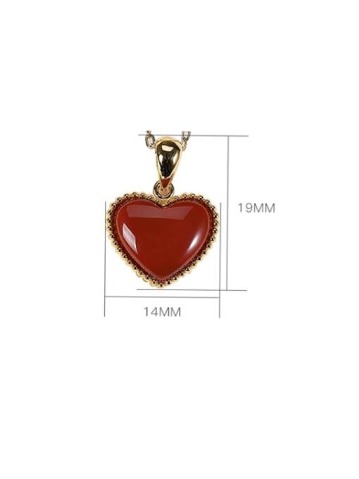 DEER 925 Sterling Silver Carnelian Heart  Vintage Pendant 3