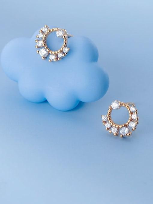 Rosh 925 Sterling Silver Cubic Zirconia Geometric Dainty Stud Earring 1