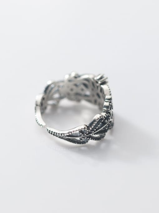 Rosh 925 Sterling Silver Rhinestone Hollow  Flower Vintage Band Ring 2