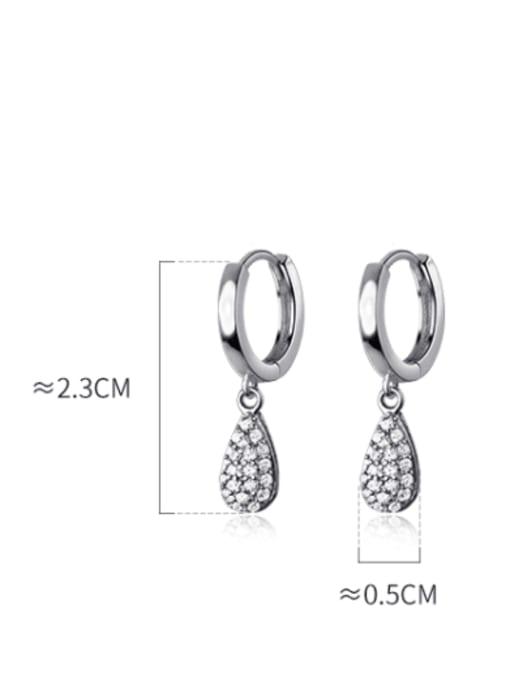 Rosh 925 Sterling Silver Cubic Zirconia Water Drop Minimalist Huggie Earring 3