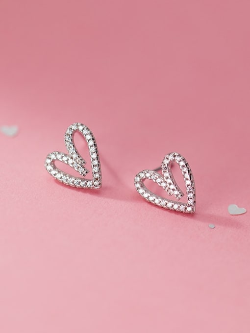 Rosh 925 Sterling Silver Rhinestone Heart Vintage Stud Earring 0