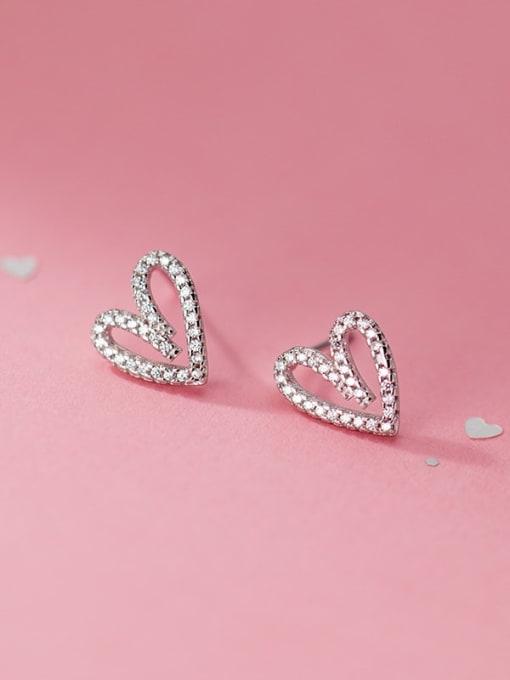 Rosh 925 Sterling Silver Rhinestone Heart Vintage Stud Earring