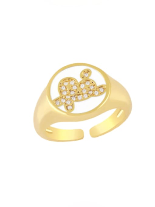 CC Brass Enamel Letter Minimalist Band Ring 3