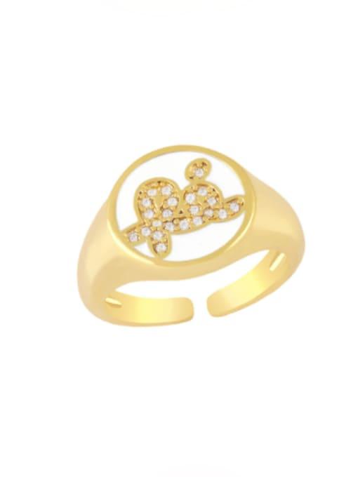 white Brass Enamel Letter Minimalist Band Ring