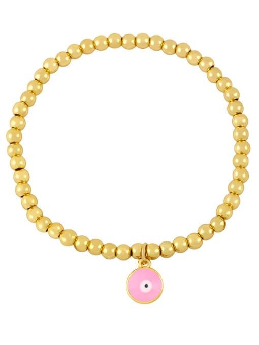 D (pink eyes) Brass Enamel Flower Vintage Beaded Bracelet
