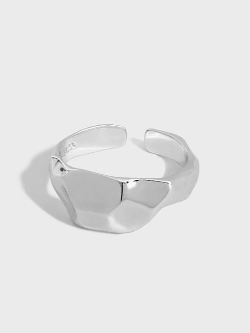 DAKA 925 Sterling Silver Geometric Minimalist Band Ring