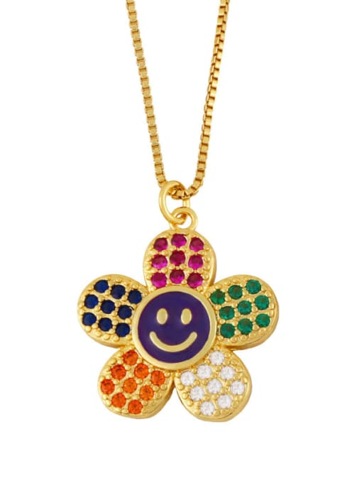 purple Brass Cubic Zirconia Smiley Flower  Minimalist Necklace