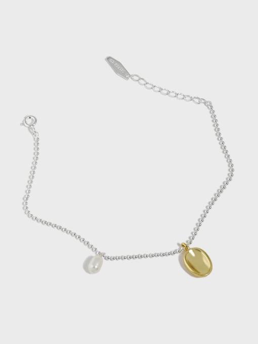 DAKA 925 Sterling Silver Geometric Minimalist Link Bracelet