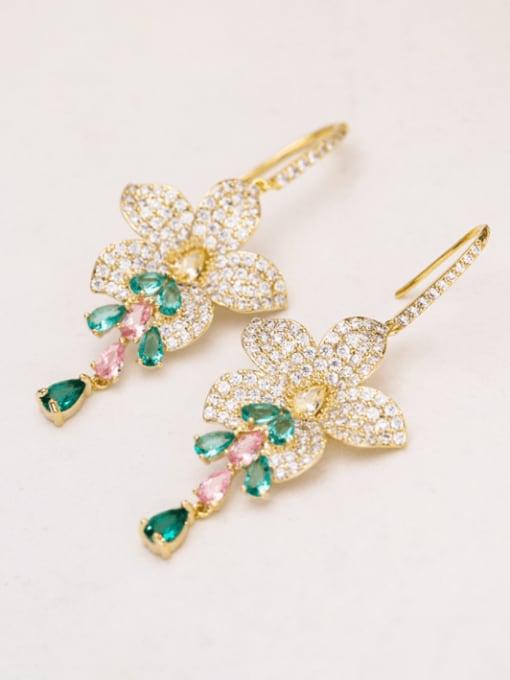 Luxu Brass Cubic Zirconia Flower Luxury Hook Earring 3