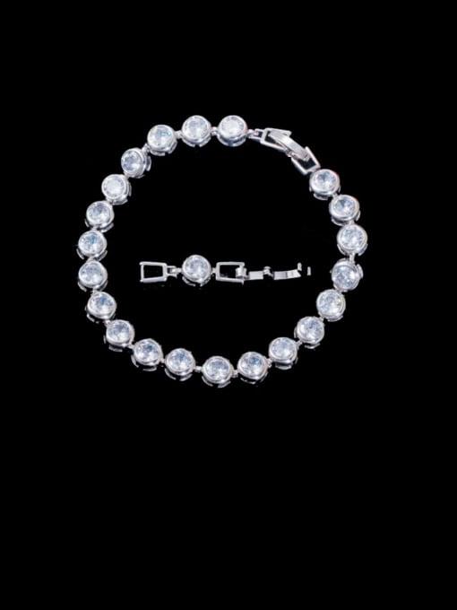 Platinum White Brass Cubic Zirconia Round Minimalist Bracelet