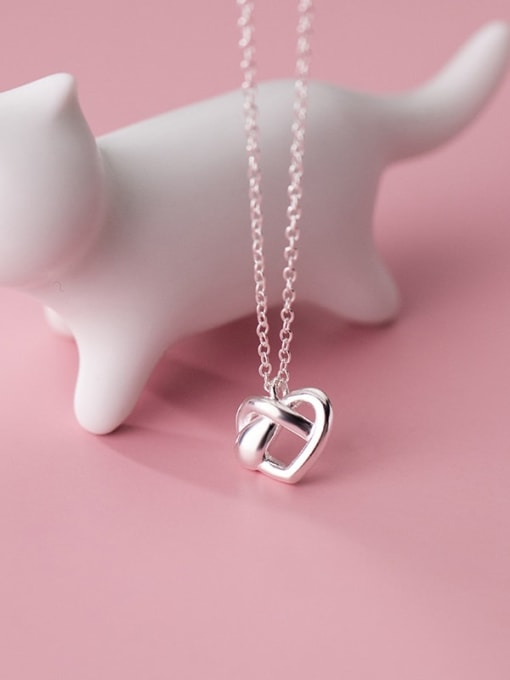 Rosh 925 Sterling Silver  Hollow Heart Minimalist Pendant Necklace 0