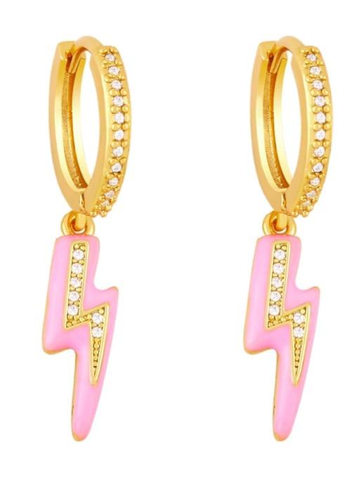 pink Brass Enamel Irregular Cute Huggie Earring