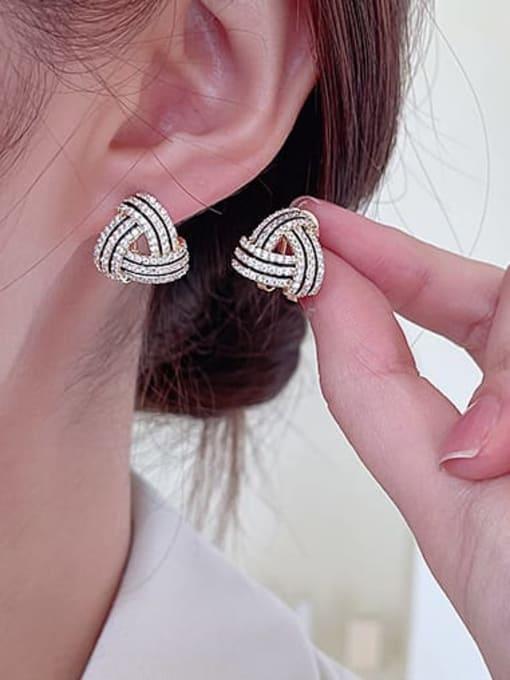 Luxu Brass Cubic Zirconia Geometric Luxury Stud Earring 1