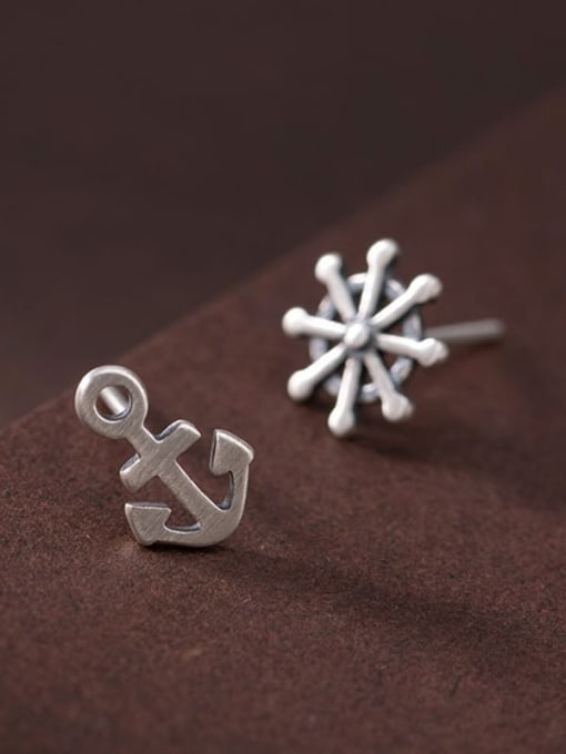 DEER 925 Sterling Silver Asymmetry Anchor Vintage Stud Earring 4