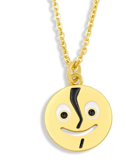 nku95 E Brass Enamel Geometric Hip Hop Necklace