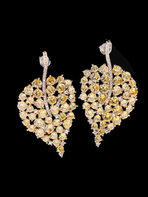 yellow Brass Cubic Zirconia Leaf Bohemia Stud Earring