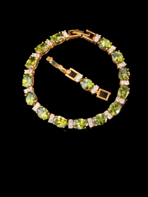 green Brass Cubic Zirconia Geometric Classic Bracelet