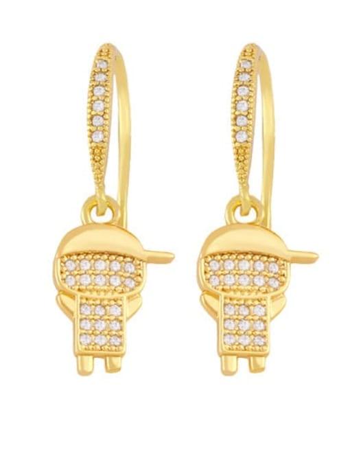 girl Brass Cubic Zirconia Angel Boy Vintage Huggie Earring