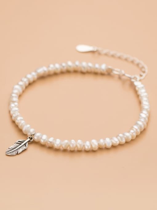 Rosh 925 Sterling Silver Imitation Pearl Feather Minimalist Bracelet 1