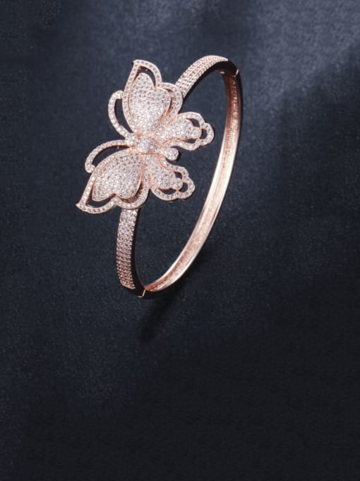 L.WIN Brass Cubic Zirconia Butterfly Statement Band Bangle 4