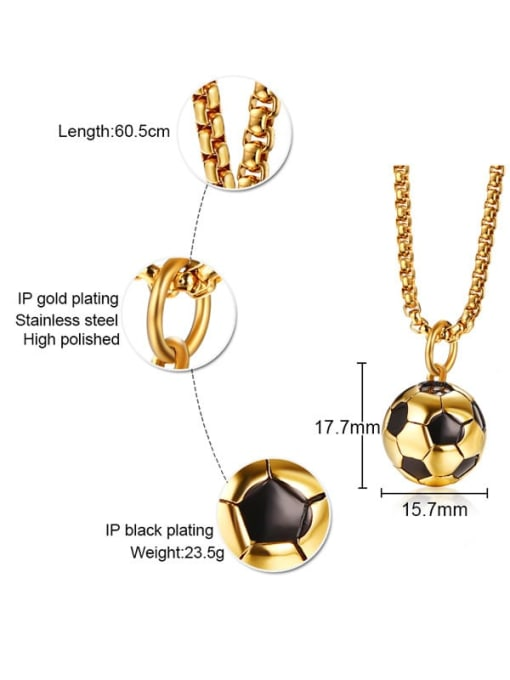 CONG Stainless steel Enamel football Minimalist Necklace 2