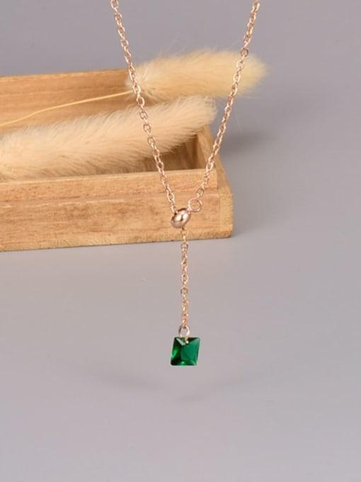 A TEEM Titanium Steel Cubic Zirconia Heart Minimalist Lariat Necklace 4